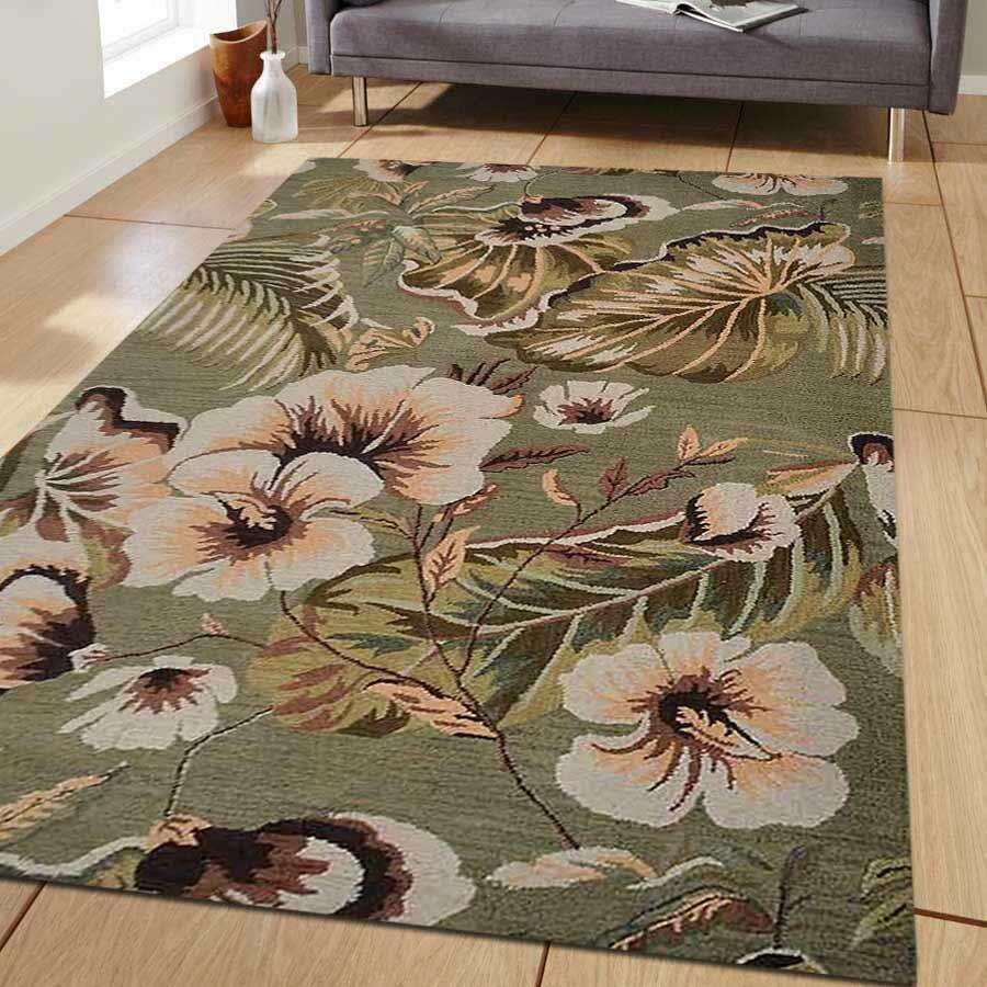 Winston Porter Wycombe Floral Handmade Tufted Wool Light Green Area Rug Reviews Wayfair