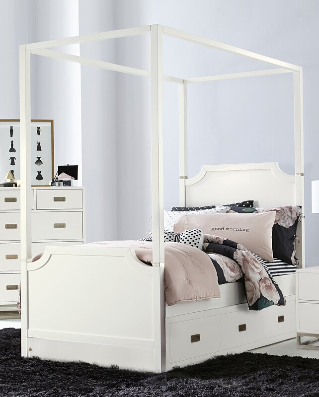 Angus Canopy Panel Bed With Trundle Soft White