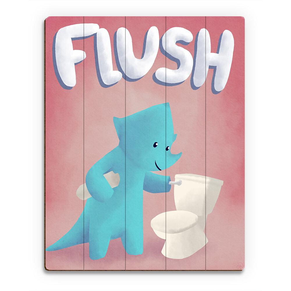 Click Wall Art Wood Slats Flush Dinosaur Graphic Art On Plaque Wayfair