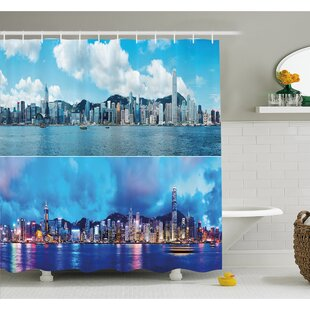 Times of Hong Kong City Morning and Evening Urban Downtown Scene Art Shower Curtain Set