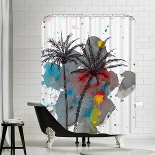 Watercolor Splash Single Shower Curtain