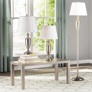 Andover Mills Fulkerson 3 Piece Table and Floor Lamp Set