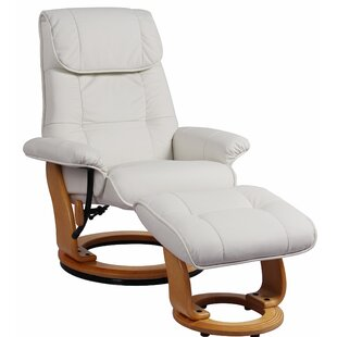 Rue Leather Manual Swivel Recliner with Ottoman