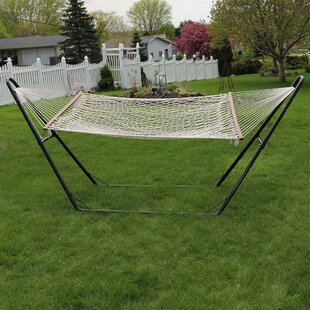 Cauley Cotton Double Wide 2-Person Rope Hammock with Stand