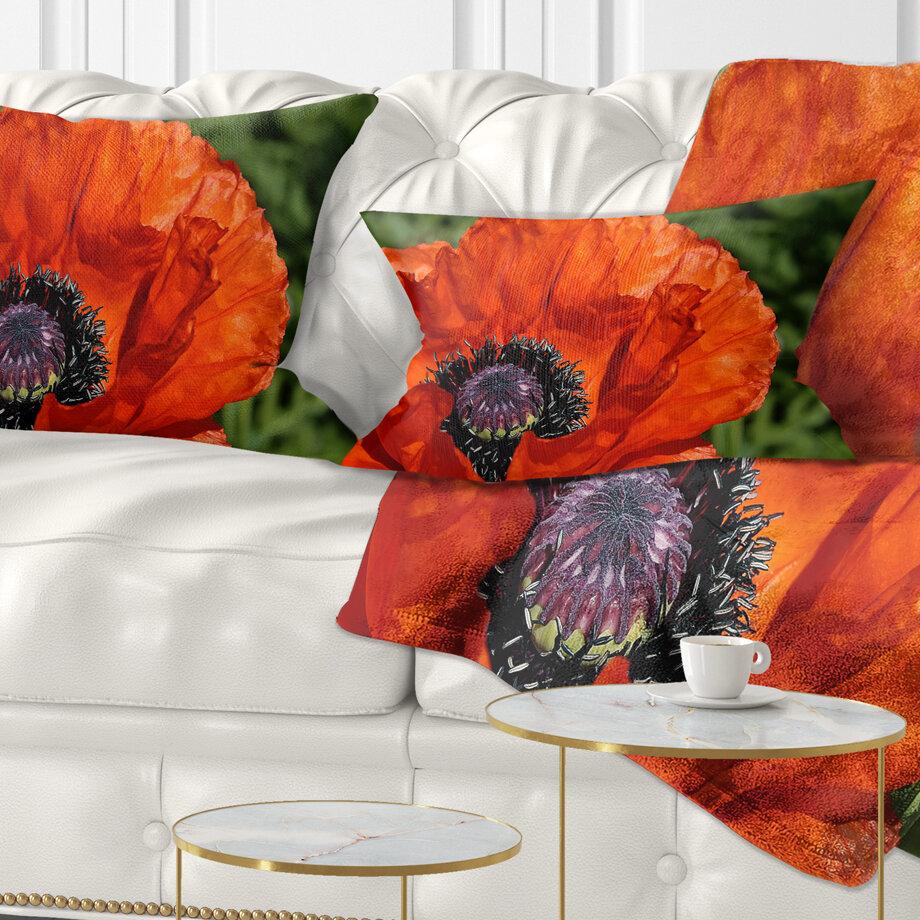East Urban Home Floral Close Up View Of Poppy Flower Lumbar Pillow Wayfair