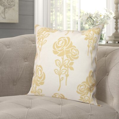 """Auserine Floral Outdoor Throw Pillow Lark Manor Size: 18"""" H x 18"""" W, Color: Gold"""