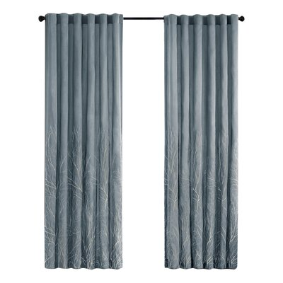 August Grove Gladeview Nature/Floral Room Darkening Rod Pocket Single Curtain Panel Color: Blue, Size per Panel: 50 W x 108 L