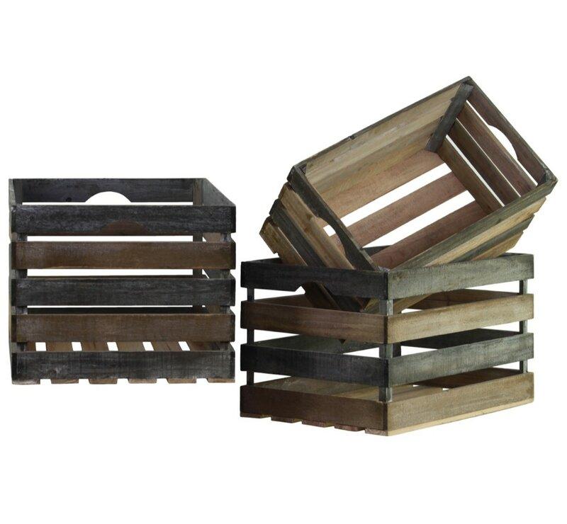 17 Stories Rectangular 3 Piece Wood Crate