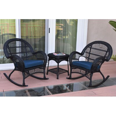 3-Piece Lalani Patio Seating Group Fabric: Blue, Frame Color: Black by August Grove
