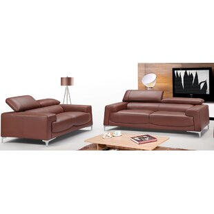 Brayden Studio Tipton Modern Saddle 2 Piece Leather Living Room Set