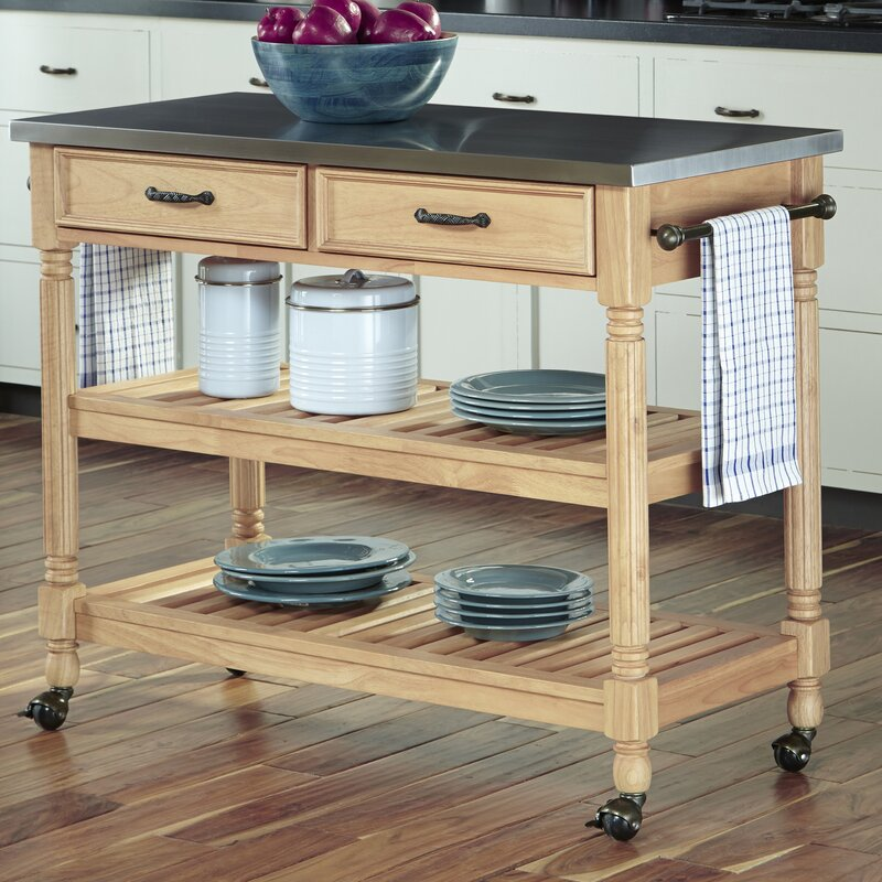 Fitzhugh Kitchen Cart With Stainless Steel Top