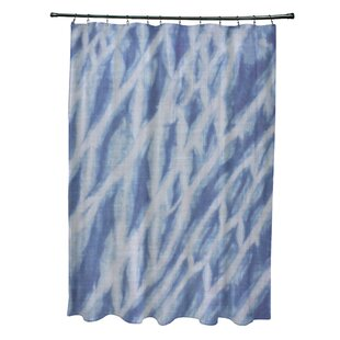 Grand Ridge Polyester Shibori Stripe Geometric Single Shower Curtain