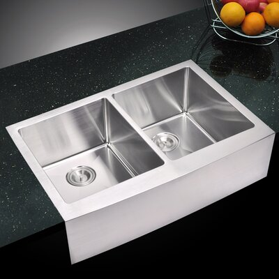 059 Corner Radius 5050 Stainless Steel 33 L x 22 W Double Apron Kitchen Sink with Drain and Strainer dCOR design