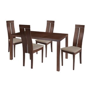 Cian 5 Piece Solid Wood Dining Set by Ebern Designs