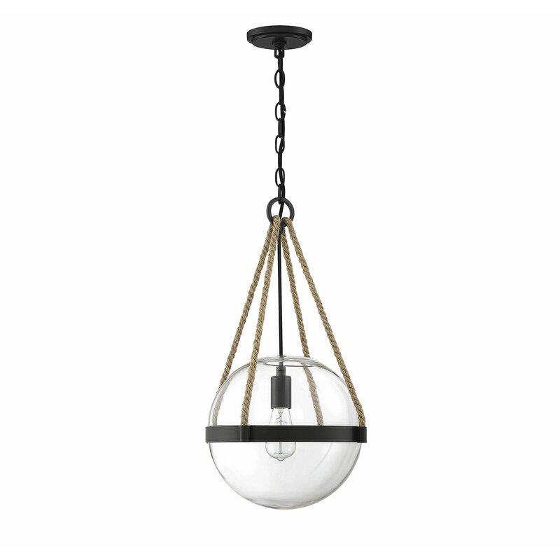 1 Light Single Globe Pendant With Rope Accents Joss Main