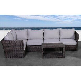 Rosecliff Heights Cochran 6 Piece Rattan Sectional Seating Group with Cushions