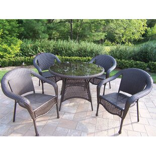 Rosecliff Heights Kingsmill Traditional 5 Piece Wicker/Rattan Dining Set
