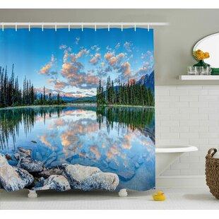 Nature Golden Sunrise Scenery Shower Curtain + Hooks