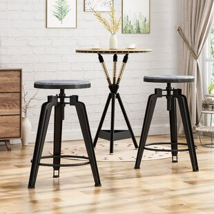 Dortch Adjustable Height Swivel Bar Stool (Set of 2) Ebern Designs