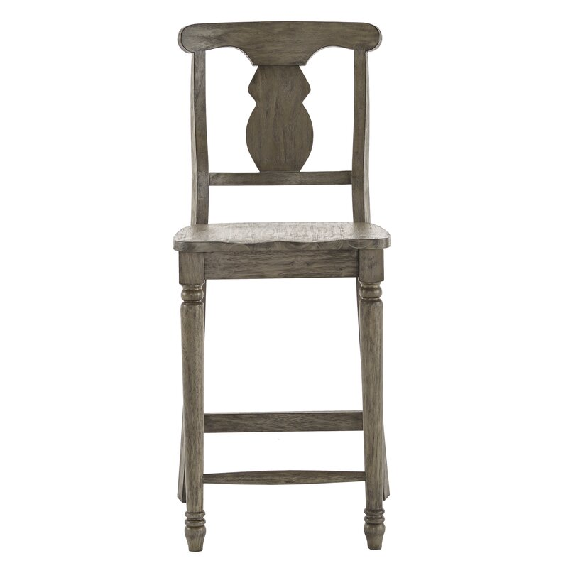 "Petrucci Reclaimed Wood Napoleon Back 24"" Bar Stool - Come discover more French Farmhouse Decor inspired by Fixer Upper and click here to Get the Look of The Club House Kitchen & Sun Room. #fixerupper #joannagaines #kitchendecor #frenchfarmhouse"