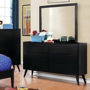 Langley Street Ricardo 6 Drawer Double Dresser with Mirror