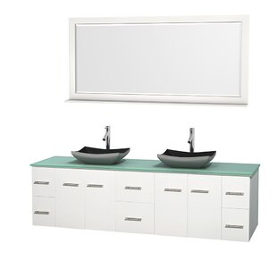 Centra 80 Wall-Mounted Double Bathroom Vanity Set with Mirror By Wyndham Collection