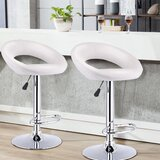 Oguz Swivel Adjustable Height Bar Stool (Set of 2) by Orren Ellis
