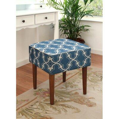 123 Creations Trellis Linen Upholstered Modern Vanity Stool