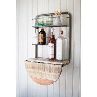 Gracie Oaks Adairsville Drop Leaf Recycled Wood Mini Bar