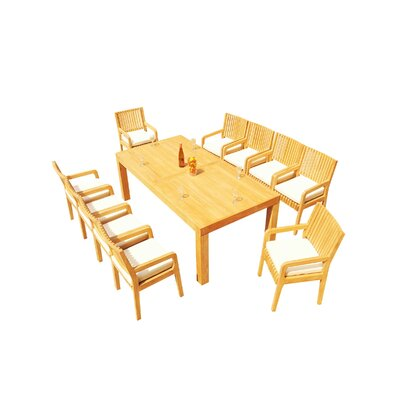 Maspeth 11 Piece Teak Dining Set by Rosecliff Heights New