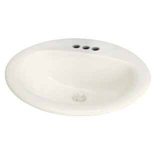 Transolid Akron Vitreous China Oval Drop-In Bathroom Sink with Overflow