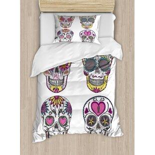 ec61d91080cb6 Sugar Skull Mexican Style Traditional Sugar Set Hearts Ornate Floral Motifs  Duvet Cover Set