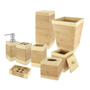 Beautiful Bamboo 8 Piece Bathroom Accessory Set