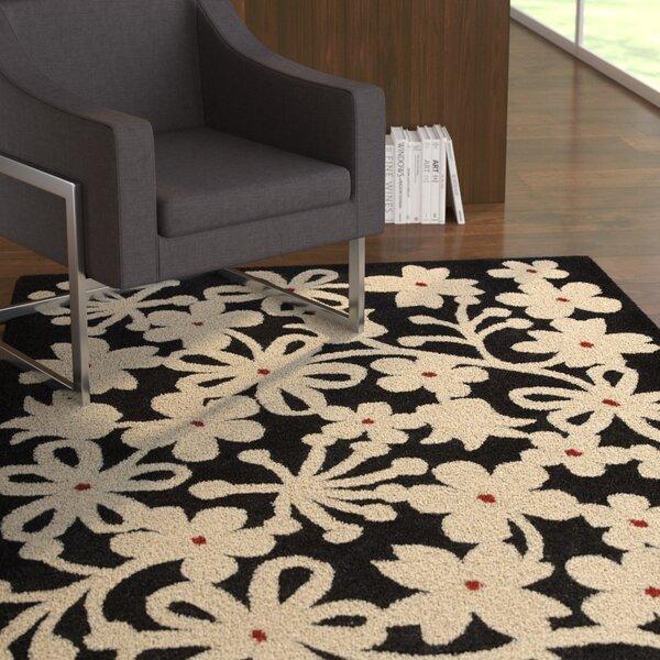 Latitude Run Allambie Floral Hand Tufted Wool Cotton Black Beige Area Rug Wayfair