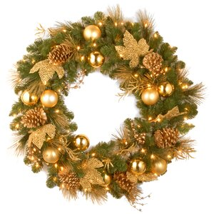 Pre-Lit Elegance Wreath with 50 Battery-Operated White LED Lights