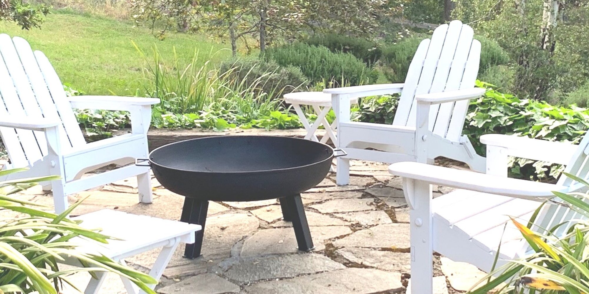 Outdoor Fireplace Rustic Cast Iron Bowl Portable w Cover Wood Burning Fire Pit