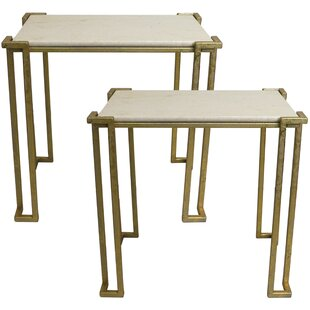 Alioth 2 Piece Marble Nesting Table Set by Everly Quinn