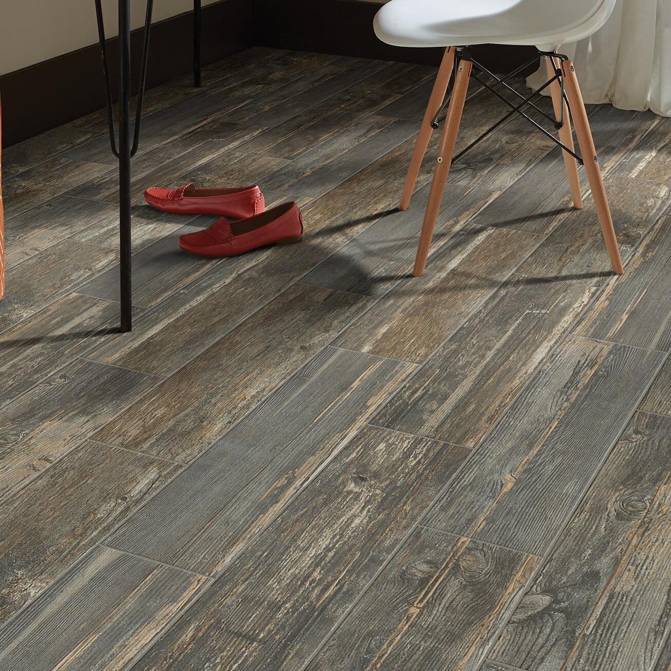 Welles Hardwood Tampico 7 X 24 Ceramic Tile In Gray Reviews Wayfair