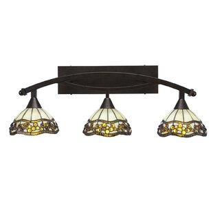 Astoria Grand Austinburg 3-Light Jewel Tiffany Glass Shade Vanity Light