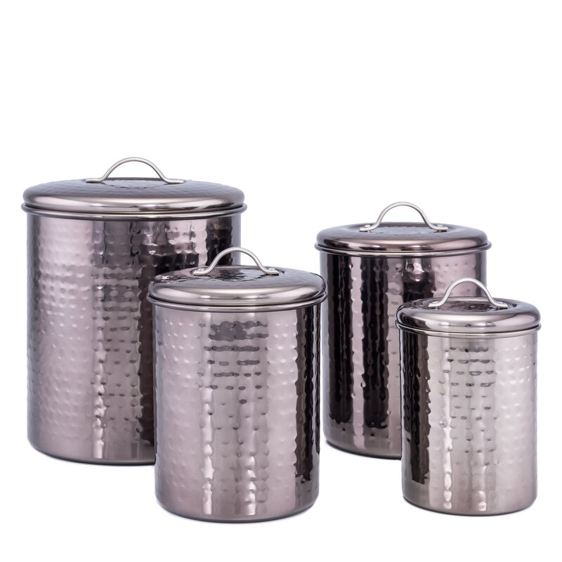 Black Hammered 4 Piece Kitchen Canister Set