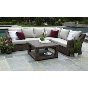 Brayden Studio Arjun 5 Piece Rattan Sunbrella Sectional Seating Group with Cushions (Set of 5)