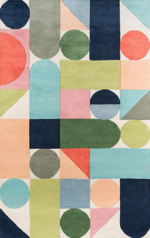 Novogratz Geometric Handmade Tufted Wool Blue Green Orange Area Rug Reviews Perigold