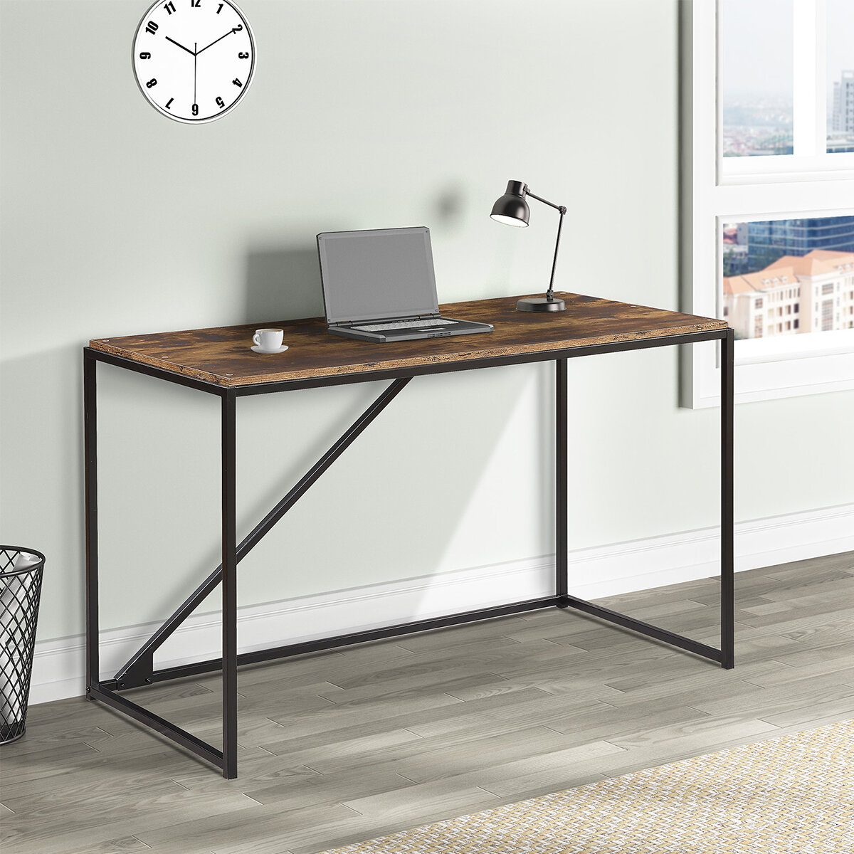 Image of: 17 Stories Home Office 46 Inch Computer Desk Small Desk Home Office Study Desk Metal Frame Modern Simple Laptop Table Easy Assembly Industrial Style Brown Wayfair Ca