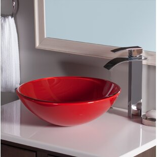 Novatto Rosso Double Layer Glass Circular Vessel Bathroom Sink