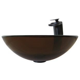Novatto TY Glass Circular Vessel Bathroom Sink with Faucet
