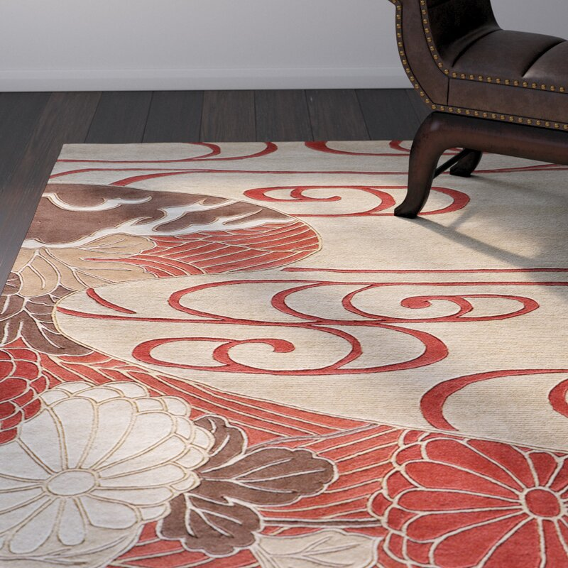 World Menagerie Olivia Hand-Woven Red/Ivory Rug & Reviews | Wayfair