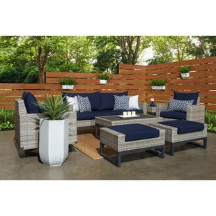 Minor Motion 7 Piece Rattan Sunbrella Sofa Set With Cushions by Wade Logan