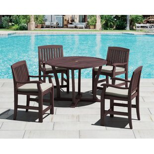 Royal Teak by Lanza Products 5 Piece Dining Set with Cushion