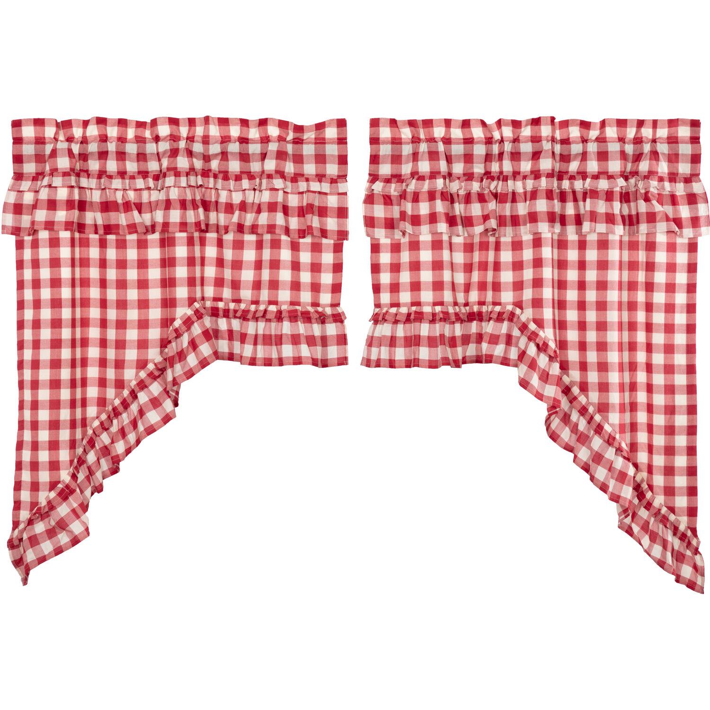August Grove Buffalo Check Ruffled Kitchen Curtain Reviews Wayfair