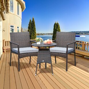 Atkinson 3 Piece Rattan Bistro Set with Cushions